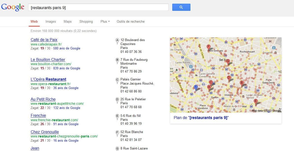 google-recherche-locale-restaurants-paris