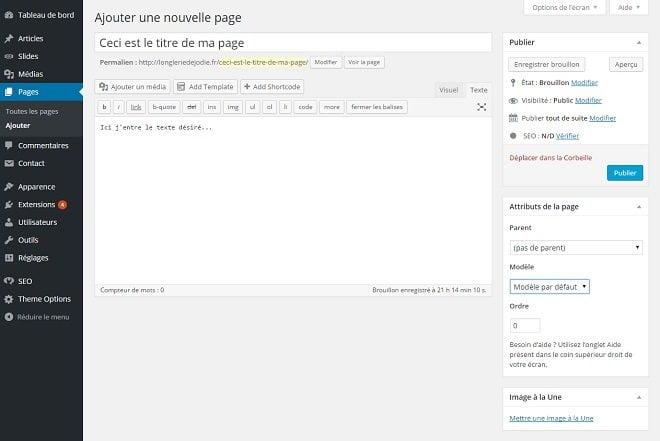 Comment créer une page WordPress