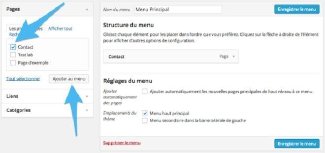 Comment ajouter une page au menu dans WordPress