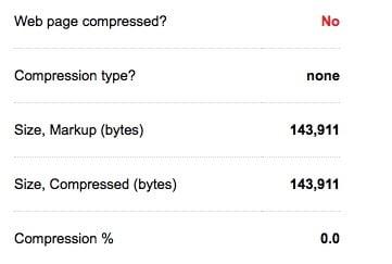 Type de compression d'une page Web