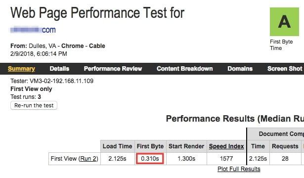 Webpagespeed test résultat first byte