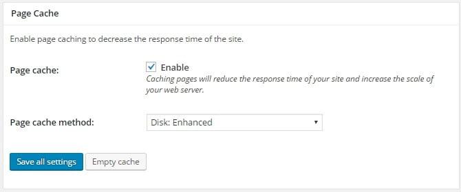 Activer la cache de la page pour accélérer sa vitesse