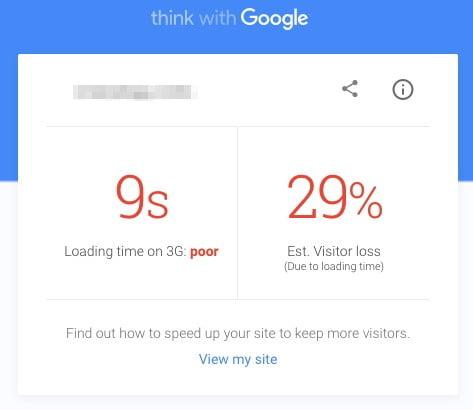 teste de vitesse site mobile avec google