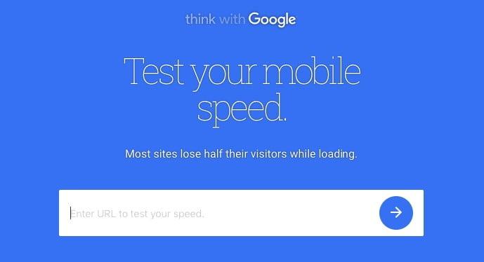 tester la vitesse du site sur un appareil mobile