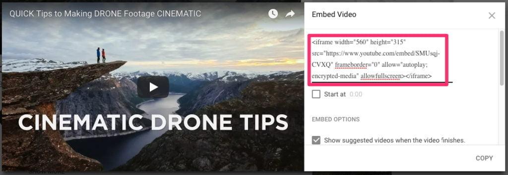 Ajouter vidéos via YouTube pour rendre la vitesse du site plus rapide
